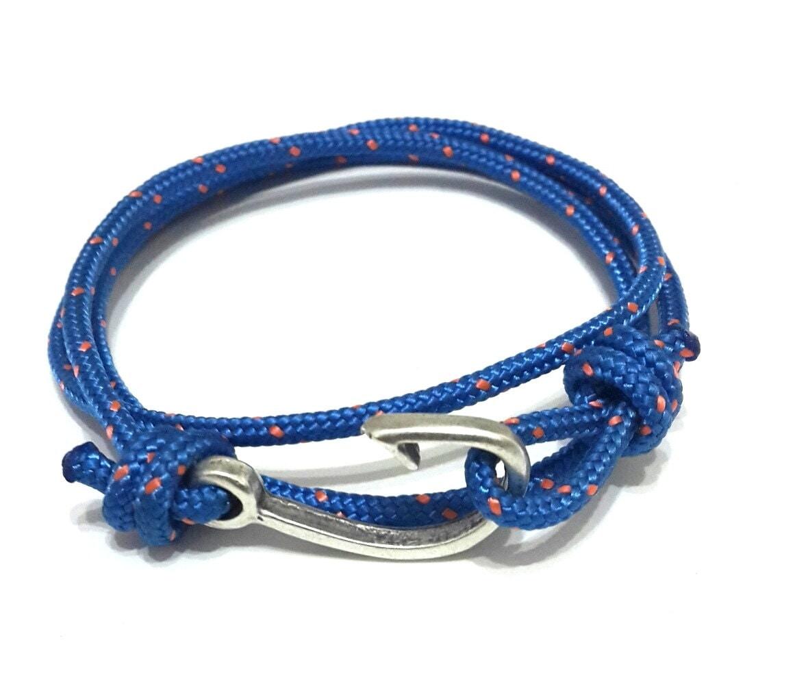 Nautical bracelet fish hook rope bracelet men 39 s for Mens fishing bracelet