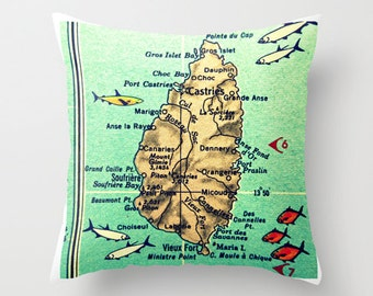 St Lucia Map Pillow Cover, St Lucia Pillow, Map Throw Pillow,  St Lucia Gift, Destination Wedding, Vintage St Lucia Map Couch Pillow, Island