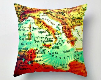 Italy Pillow Cover ITALY Pillow, GREECE Pillow, MEDITERRANEAN Map Pillow Wanderlust Pillow, Italy map Greece Map Rome Malta Wanderlust Gift