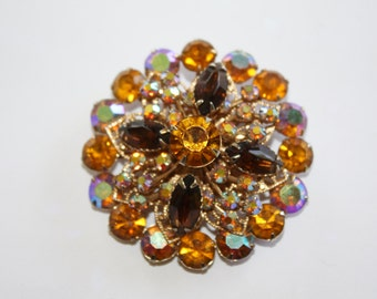 1950s Rhinestone Brooch, Amber Orange Pin, Jewelry Chunky