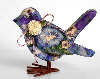 Blue Floral Bird