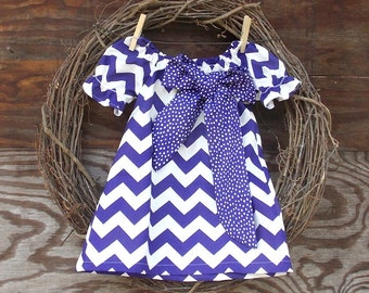 Girls Purple  Dress, Girls Peasant Dress,  Purple Chevron Dress