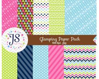 INSTANT DOWNLOAD, glamping digital paper for commercial use or personal use