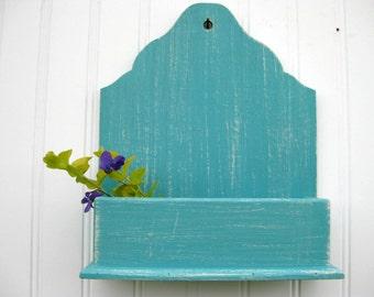 Hanging Wall Box Wall Pocket Small Organizer Aqua Retro Distressed White Rustic Weathered Wooden