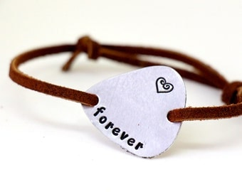 Hand Stamped Aluminum Guitar Pick Bracelet - Leather - Forever - Personalized