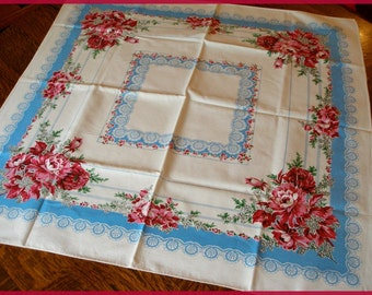 Vintage Printed Tablecloth Pretty Pink Peonies Lacey Trim