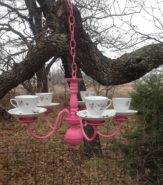 Hot Pink Chandelier Tea Cup Bird Feeder Hanging Outdoor