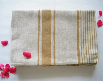 2 Natural Linen Bath Sauna Towels - Huckaback - Brown Stripe- Pure Flax- Bathroom Linens - Badetuch.
