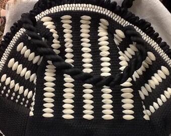 Vintage Black and White Woven Handbag