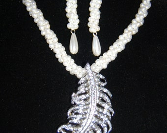 Braided Rope Pearl Necklace and Earring Set