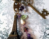 Retro Eiffel Tower Gemstone Keychain pendant, Purple Amethyst CHOiCE, Paris France Engraved Tag