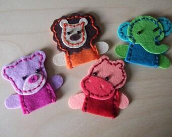 Hand Made Felt Finger Puppets set of 4 Wild Animals. Bear, Hippo, Lion, Elephant Finger Puppets. Holiday gift, Birthday gift,Christmas gift