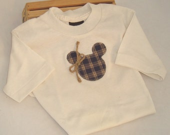 Child's Appliqued T-Shirt with Homespun Mickey Motif