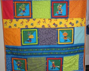 Robot Quilt, Nuts and Bolts Fabric, Boy Quilt, Bright Colors Primary Colors.
