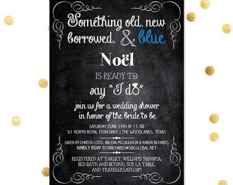 Something Blue - Wedding Shower Bridal Chalkboard Something Old New Borrowed Blue Bachelorette Party Invites - Custom Quantities Invitation