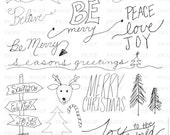 Christmas Doodles Photoshop Brushes / Overlays for Photographers / Word Art / Clip Art / Digital Stamps / Digital Scrapbooking/ Chalkboard