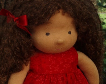 """14"""" Waldorf Doll with Brown hair, Amber ( made to order )"""