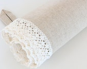 Large Linen Towel / Bath Towel with Lace