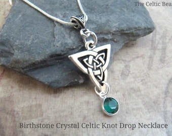 Birthstone Crystal & Triangular Celtic Knot Necklace - Crystal Color Drop of your Choice
