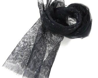 Black Chantilly Lace Scarf by Basia Zarzycka