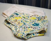 Whale and Elephant brief-style underwear for girls, Girl's whale panties, toddler girl elephant unders, blue and yellow underwear