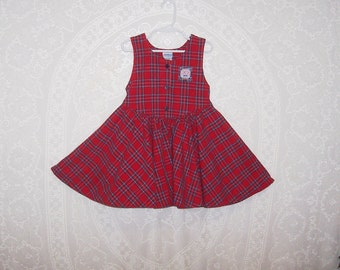 Size 5 ~ Girls' Vintage Jumper ~ by Oshkosh ~ Red ~ Plaid ~ Christmas ~ Holiday ~ School ~ made in USA