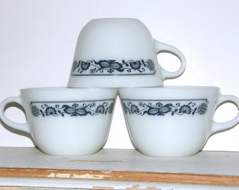 Vintage Pyrex Mugs - A Pair & A Spare, Retro Blue and White Vintage Pyrex Coffee Cups