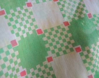 Vintage 1970s scarf green checkered squares nylon rayon blend