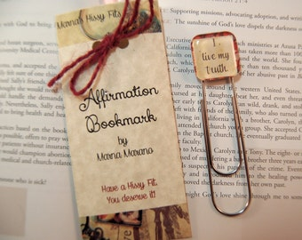 Mantra Affirmation Bookmark Paperclip Book Mark I live my truth Positive Saying Bookmark Gift for Teens Moms Friends