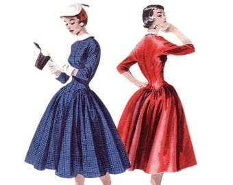 Vintage 1950s Sewing Pattern - Long Line Fitted Drop Waist Dress with Full Hip Gathers, 3/4 Sleeves - Butterick 7497, Bust 30, Uncut