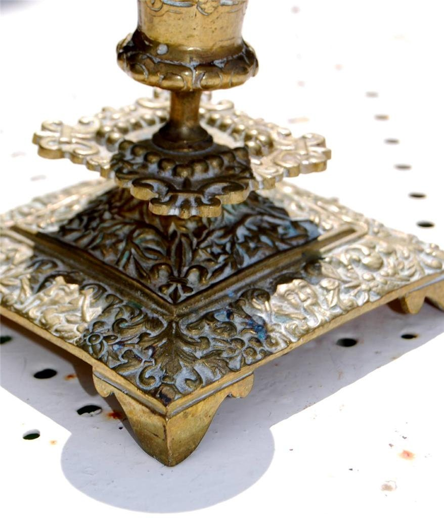 Antique french chic shabby brass bougeoir candle holder for Bougeoir shabby chic
