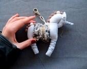 White Fantasy Unicorn, Happiness White Unicorn Miniature, Stuffed Unicron with Faux Fur, Valentines Gift, Gift for kids