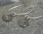 Pave Diamond Disc Drop Earrings Diamond Dangle Earrings Sterling Silver Earrings Diamond Wedding Earrings