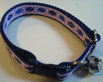 Pink and Blue Argyle Cat Collar (large)
