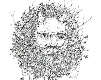 Green Man-Fine Art print of my original illustration