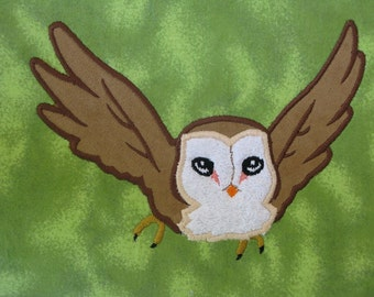 Brown Flying Owl APPLIQUE Embroidery Designs 4 sizes INSTANT DOWNLOAD
