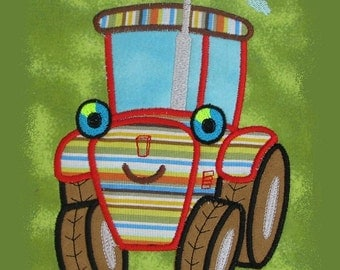 Cute Tractor APPLIQUE Embroidery Design 3 sizes  INSTANT DOWNLOAD