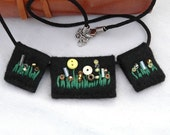 SALE - felt necklace, three piece necklace, handmade jewellery, yellow flower buttons and beads