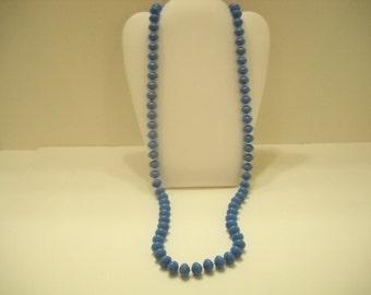 """Vintage 30"""" Single Strand Royal Blue Necklace (1573)"""