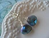 Mystic Blue Teardrop Faceted Briolettes Earrings, Wire Wrapped, Jewelry Handmade, Womens Jewelry, Dangle Earring, Blue Wire Wrapped Earrings