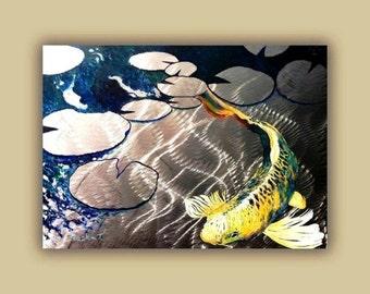 Aluminum Print, Koi Fish Print On Metal. Fish Art - Yellow - Blue - Green 3D Painting of Koi Fish, Asian Inspired Art
