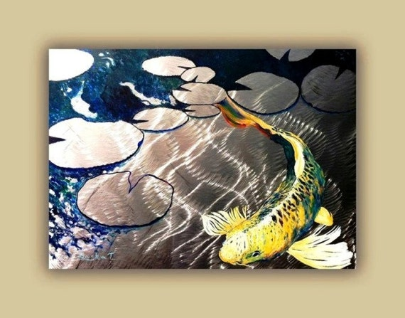 Aluminum print koi fish print on metal fish art yellow for Koi fish metal art