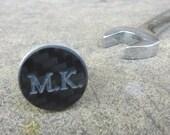 Engraved personalized real carbon fiber black & silver color cufflinks - Custom carbon fibre Formula 1 guys mans driving car gift