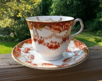 Gorgeous Englsih Bone China Teacup and Saucer, Collingwoods, Beautiful Burnt Orange and Gold