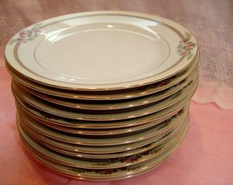 Vintage Dessert Plates Noritake Bread Butter Handpainted Pink Rose Set of 12 1930s Shabby Cottage Chic Vintage