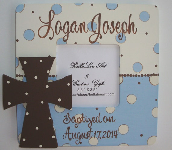 Hand painted personalized boys cross and bible verse baptism picture frame