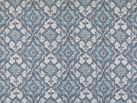 navy blue and aqua ikat upholstery fabric grey blue cotton curtains roman shades navy. Black Bedroom Furniture Sets. Home Design Ideas