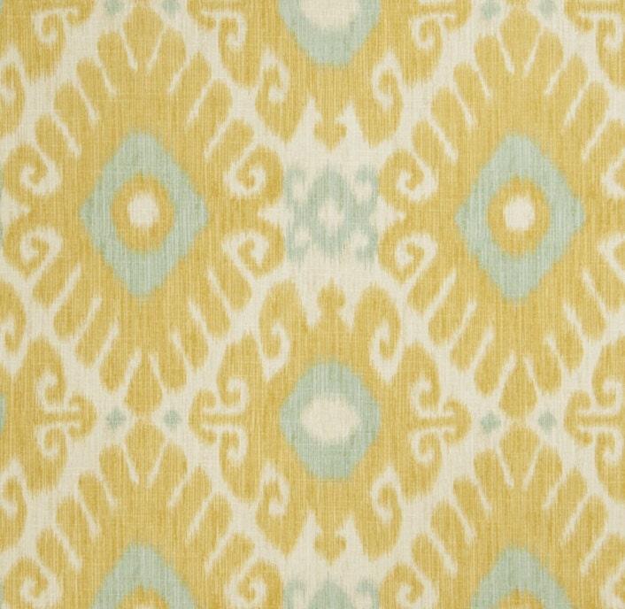 Aqua and yellow linen ikat upholstery fabric by popdecorfabrics