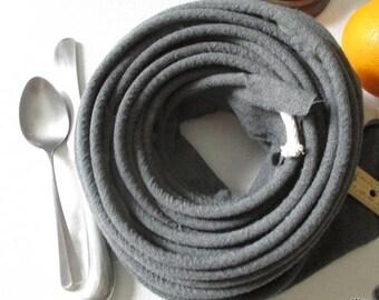 """Hooked Rug Binding, Cording,   cotton cord , reused wool,  dark  grey  .     6.5yds x   3 """"..wool   binding.."""