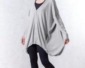 NO.155 Light Gray Cotton-Blend Jersey Cardigan Slouchy Pattern Top